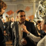"Risa directing Rossif Sutherland and Russell Peters in ""The Con Artist"""