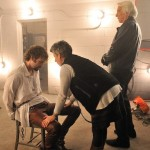 "Risa directing Rossif Sutherland in ""The Con Artist"""