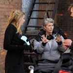 "Risa directing Sarah Roemer and Rossif Sutherland in ""The Con Artist"""