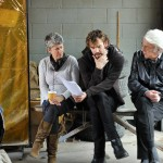 "Risa rehearsing with Donald and Rossif Sutherland on set in ""The Con Artist"""