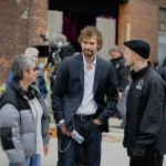 "Risa on set of ""The Con Artist"" w/ Rossif Sutherland and Mac Fyfe"