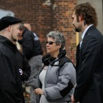 "Risa rehearsing with Mac Fyfe and Rossif Sutherland on set in ""The Con Artist"""